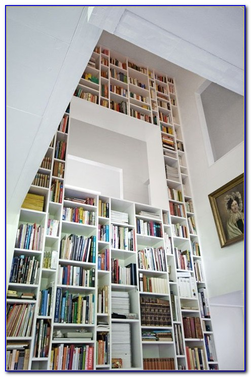 White Floor To Ceiling Bookcases