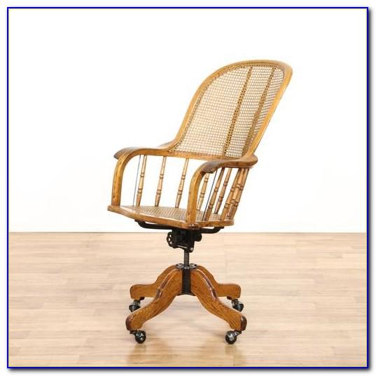 Wicker Swivel Desk Chair