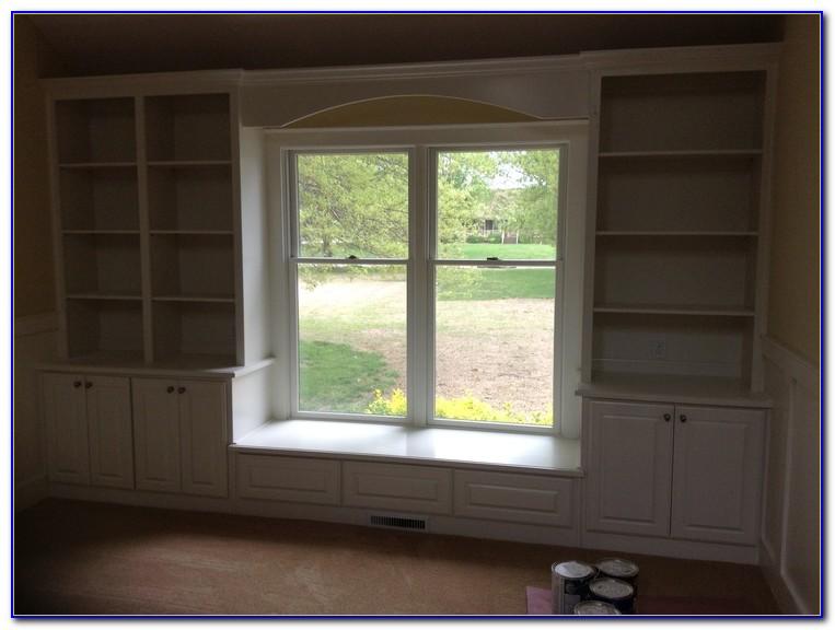 Window Seat Between Bookcases