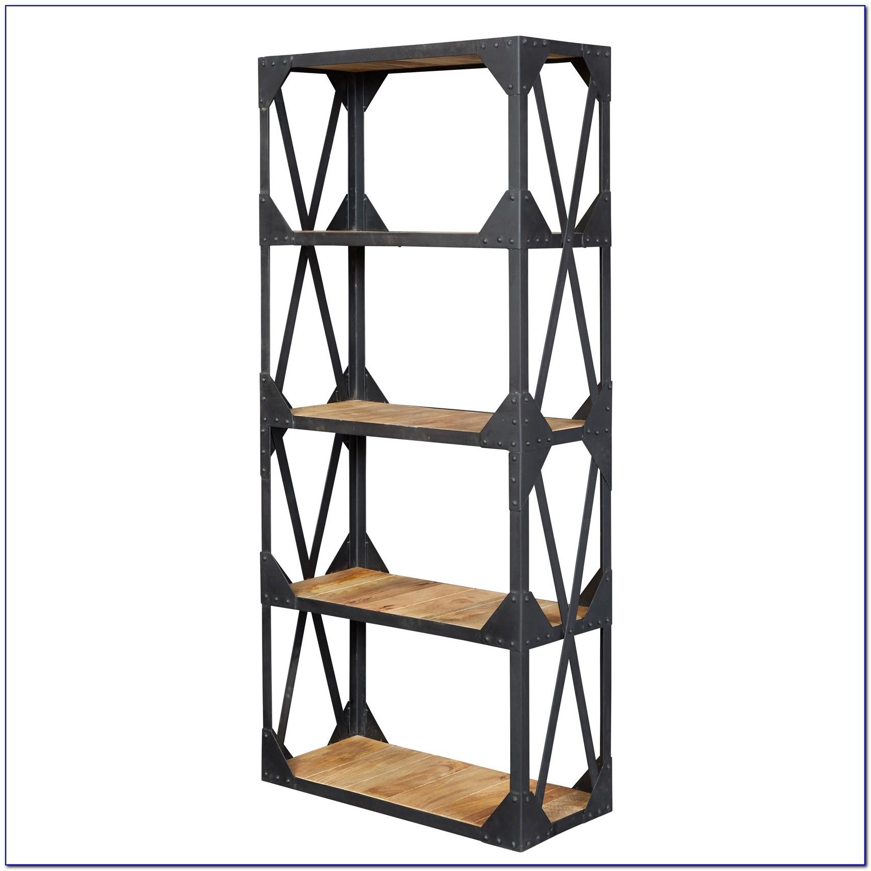 Wood And Metal Shelf Unit
