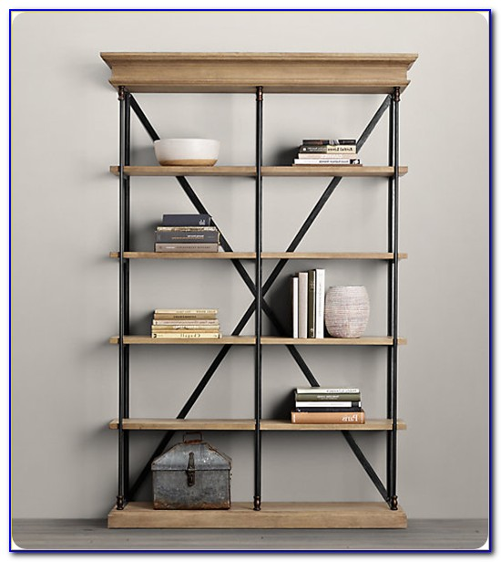 Wood And Metal Shelf With Hooks