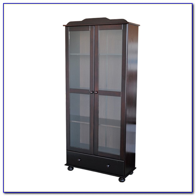 Wooden Bookcase With Glass Doors
