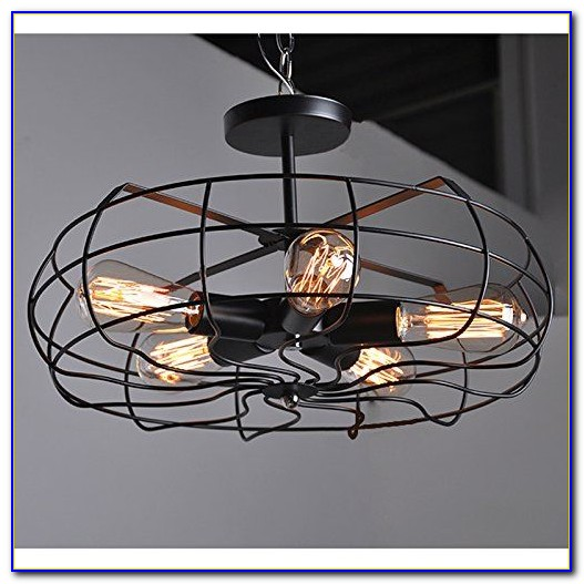 Cage Style Ceiling Fan With Light