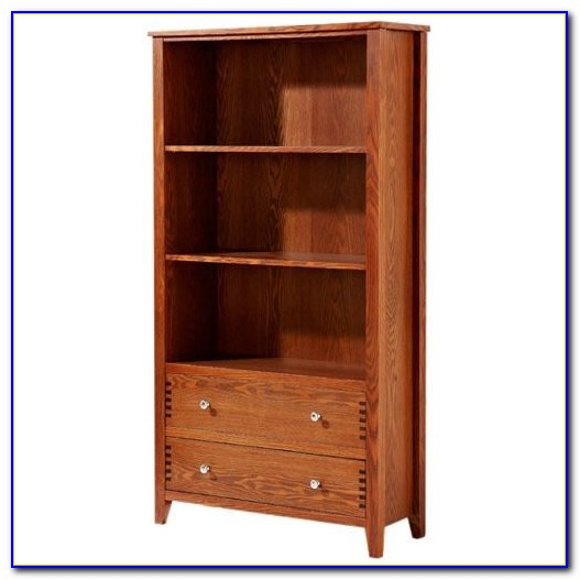 Dark Oak Bookcase With Drawers