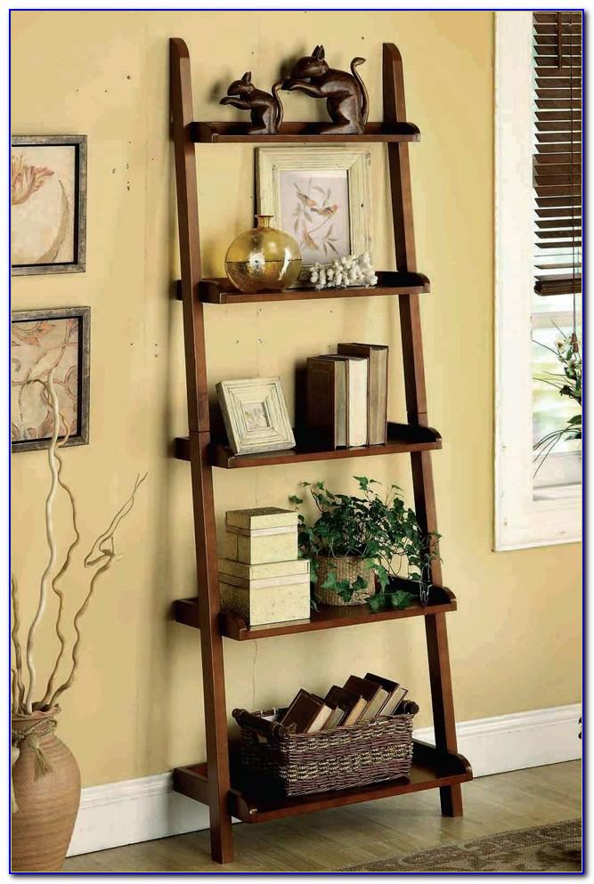Espresso Leaning Bookshelf