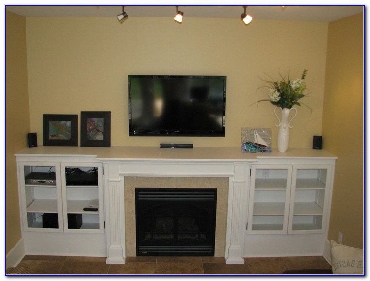Fireplace Mantel Between Bookcases