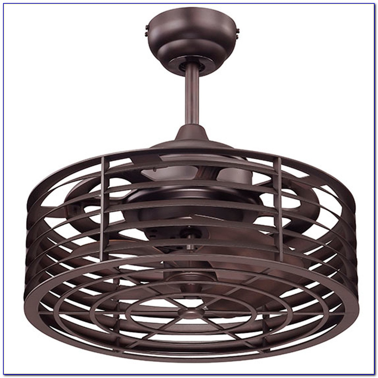 Flush Mount Caged Ceiling Fan With Light