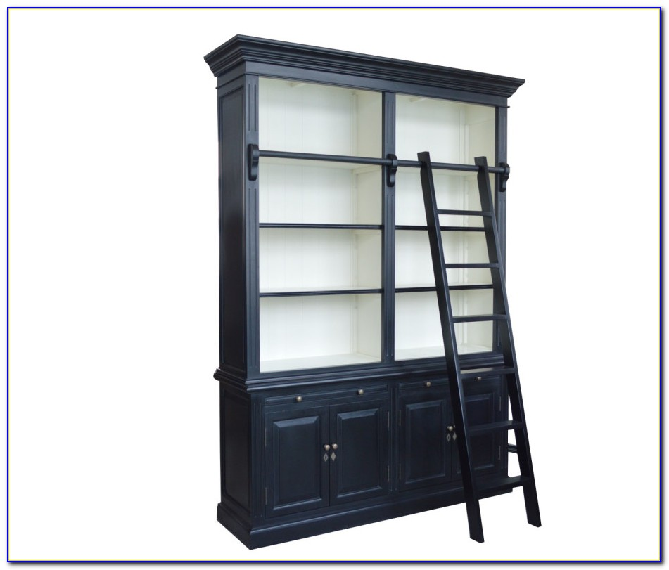 French Provincial Style Library Bookcase With Ladder