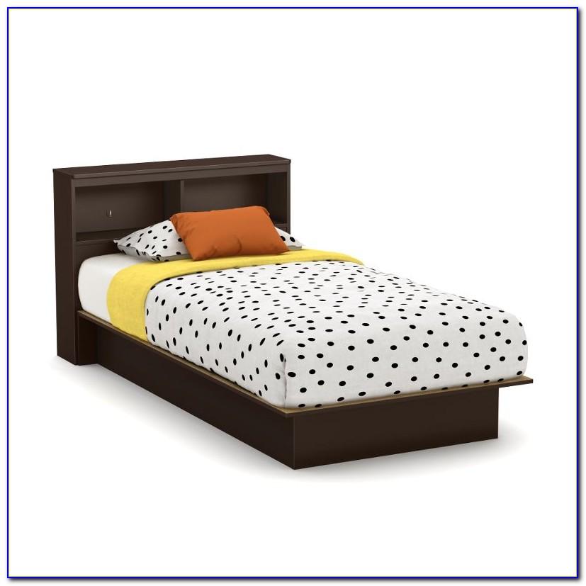 Full Size Black Platform Bed Bookcase Headboard