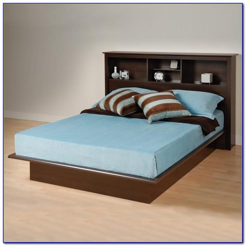 King Platform Bed Bookcase Headboard