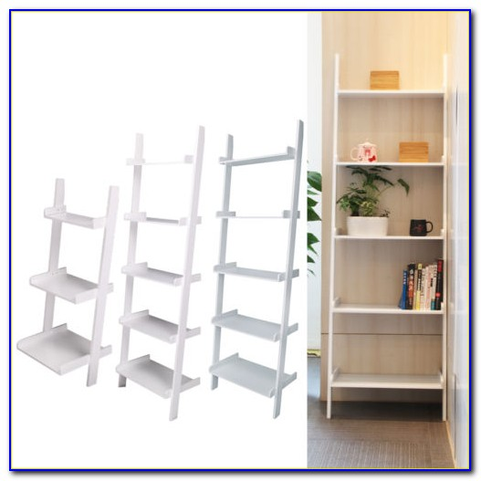 Leaning Ladder Bookcase White