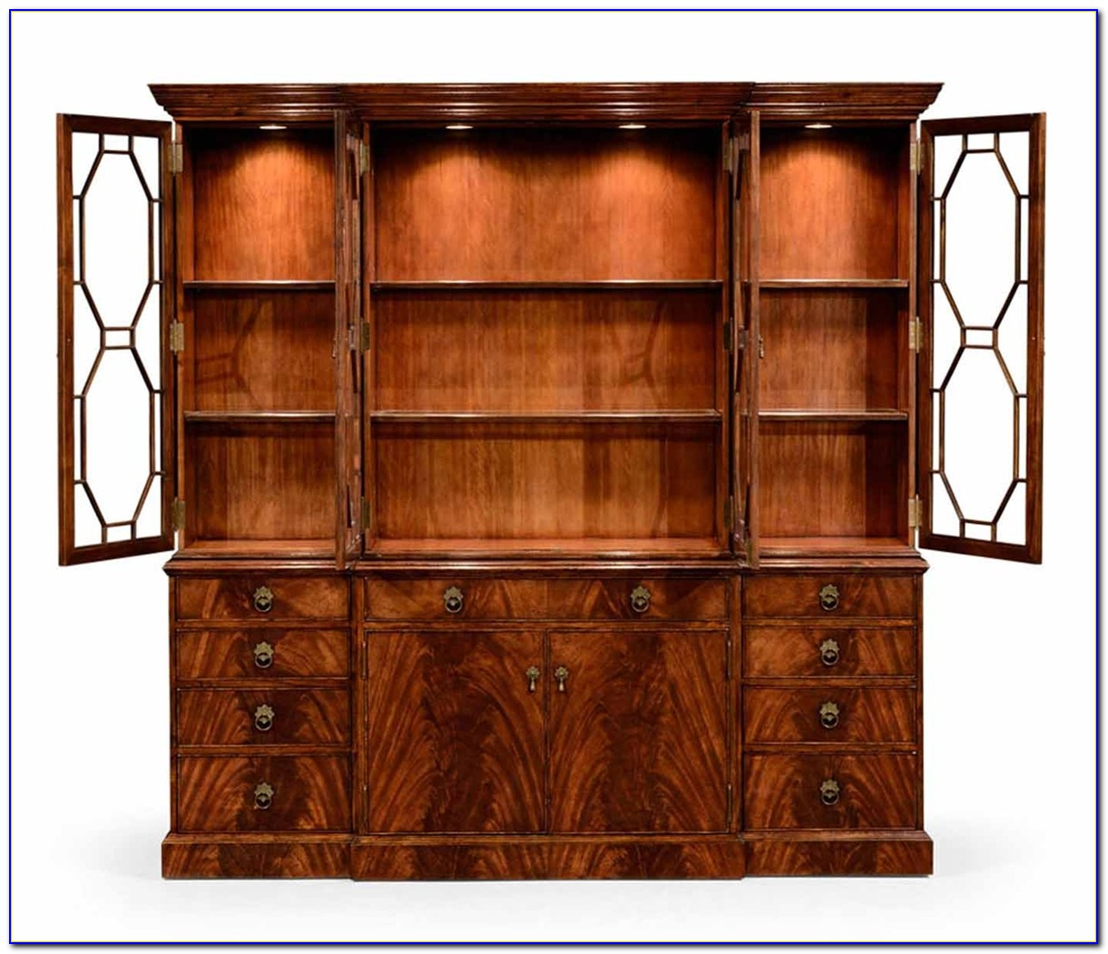 Mahogany Bookcase With Glass Doors
