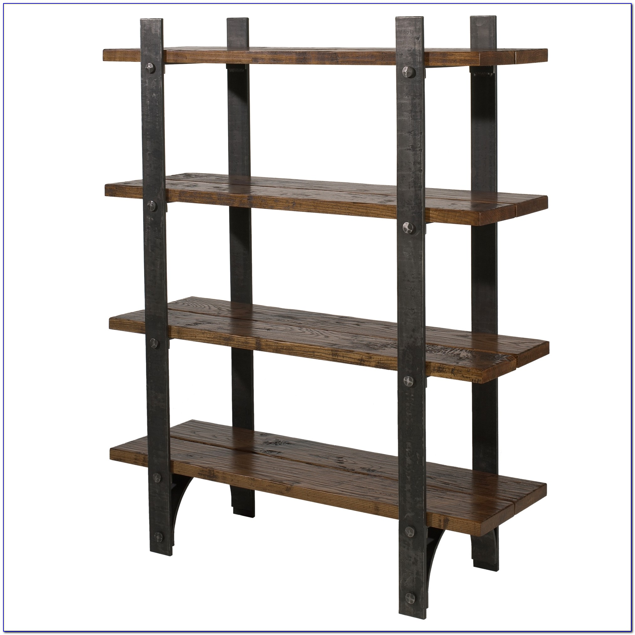 Metal Bookcase With Wood Shelves