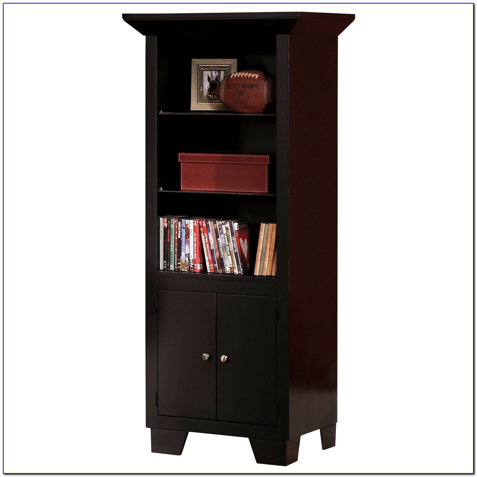 Narrow Bookcase Dark Wood