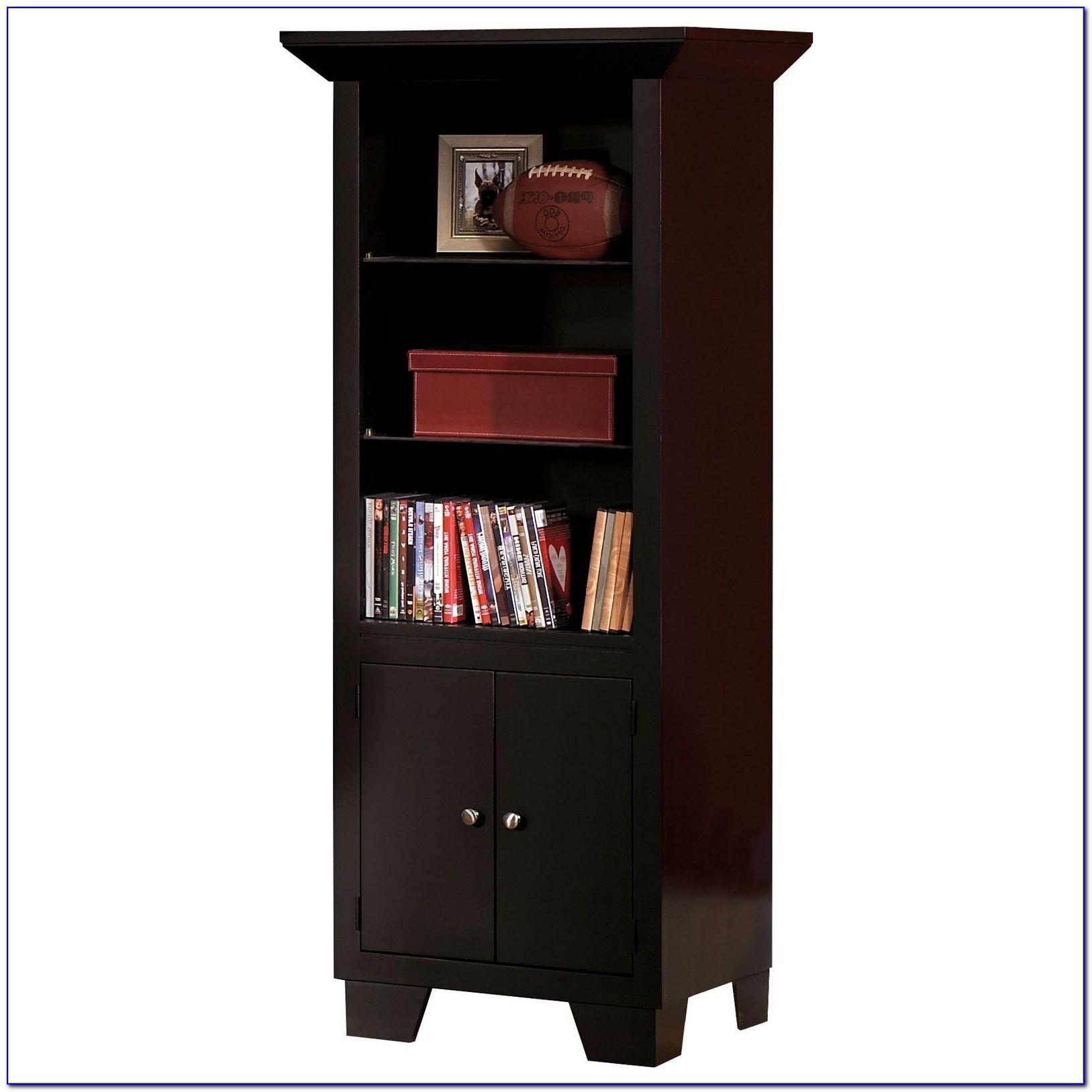 Narrow Bookcase Dark Wood