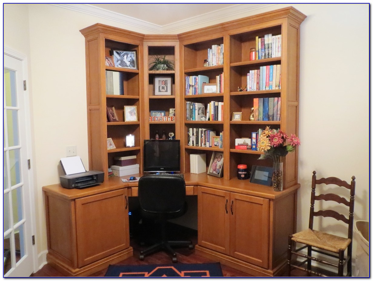 Office Desk With Bookcase And Shelving
