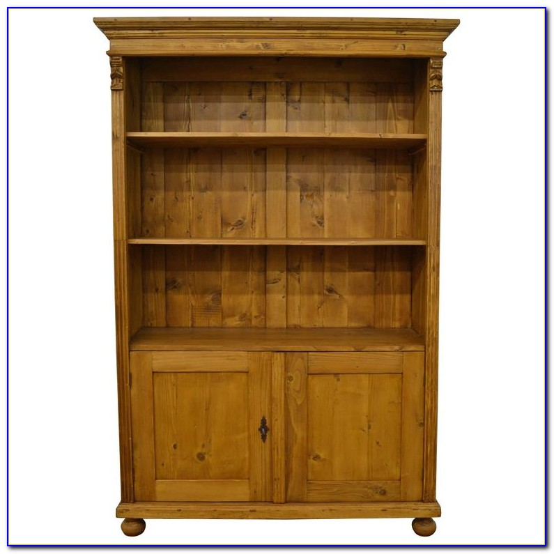 Pine Bookcase With Doors