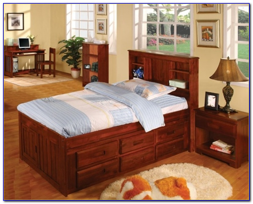 Queen Captains Bed Bookcase Headboard