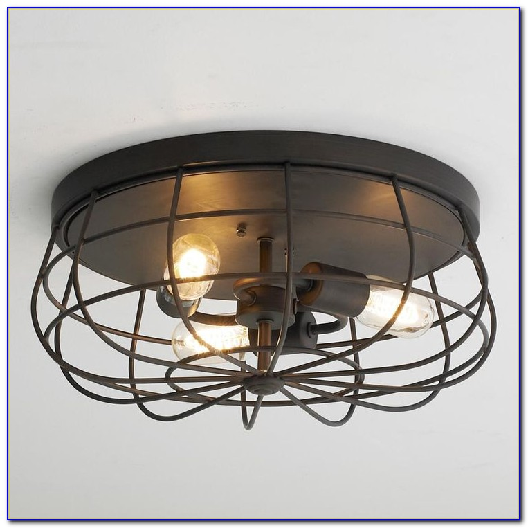 Small Caged Ceiling Fan With Light