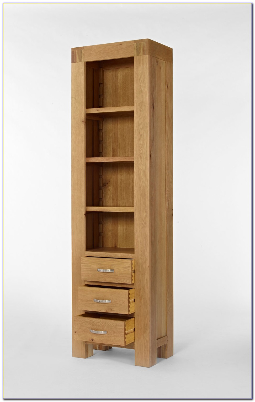 Tall Narrow Bookcase Oak Veneer