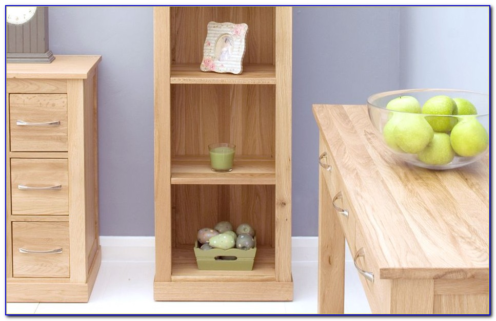 Tall Narrow Solid Oak Bookcase