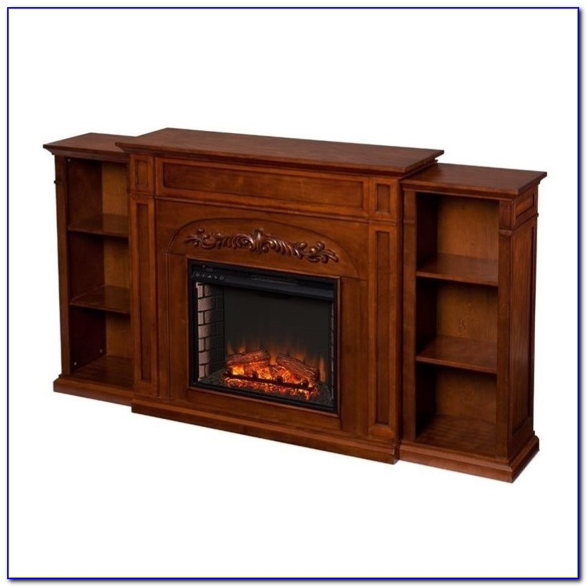 White Bookcase Electric Fireplace