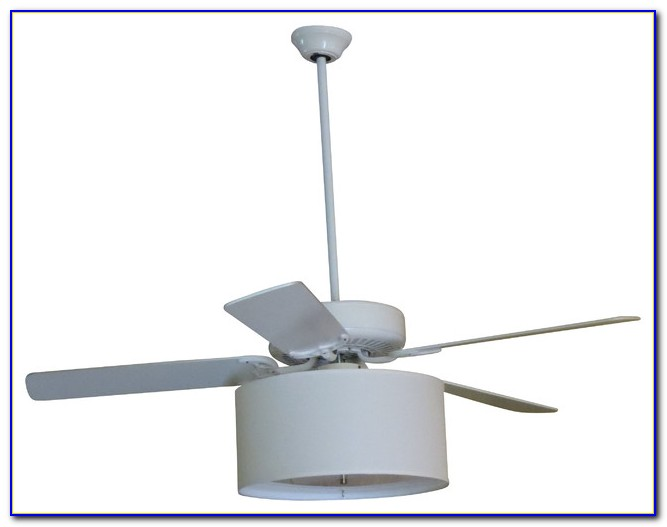 White Ceiling Fan With Drum Shade