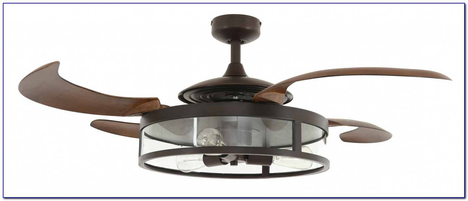 Ceiling Fan With Clear Retractable Blades And Light