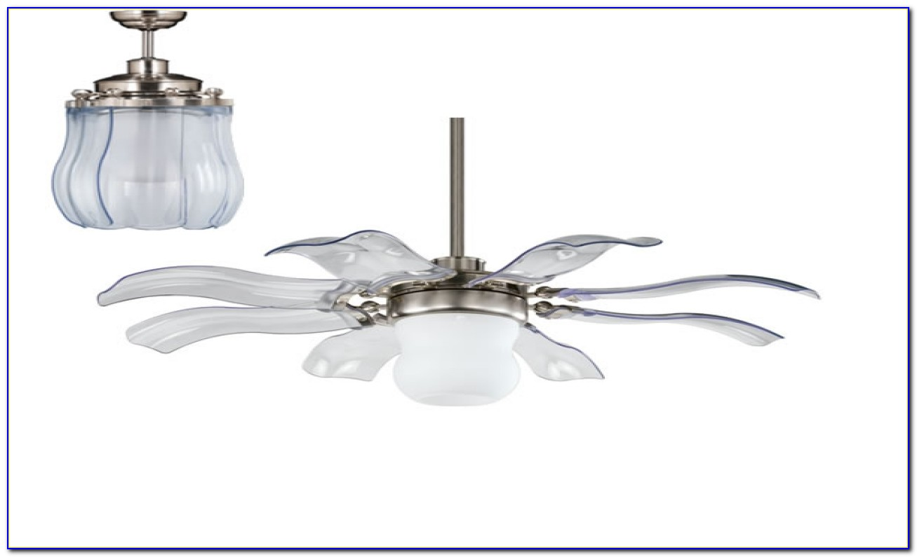 Chrome Ceiling Fan With Clear Blades