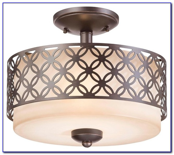 Drum Shade Semi Flush Ceiling Light