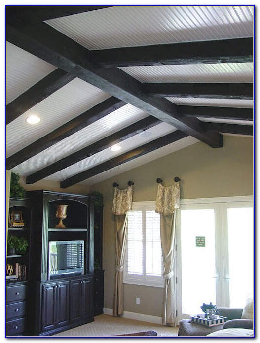 Faux Beams Coffered Ceiling