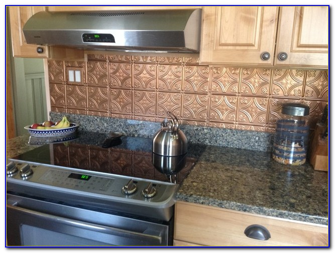 Faux Tin Ceiling Tile Backsplash