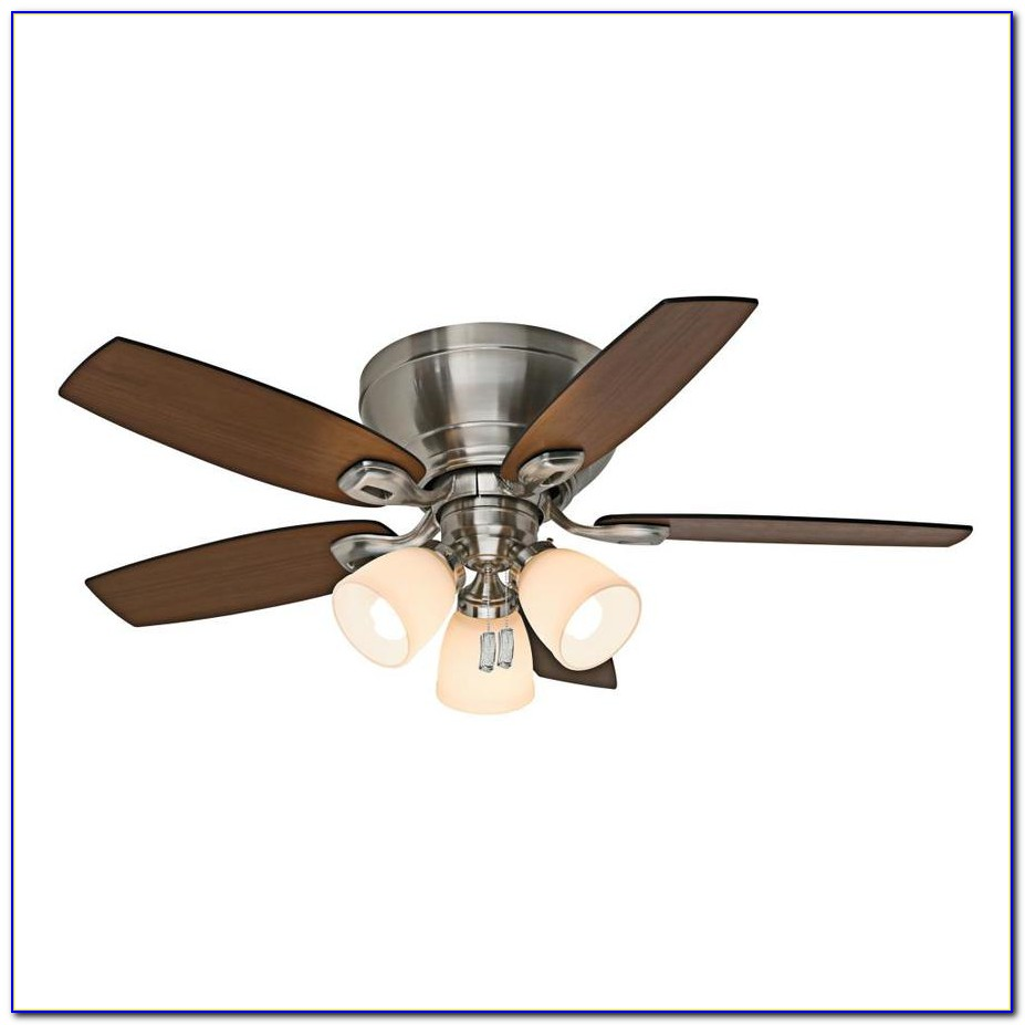 Flush Mount Brushed Nickel Ceiling Fan With Light