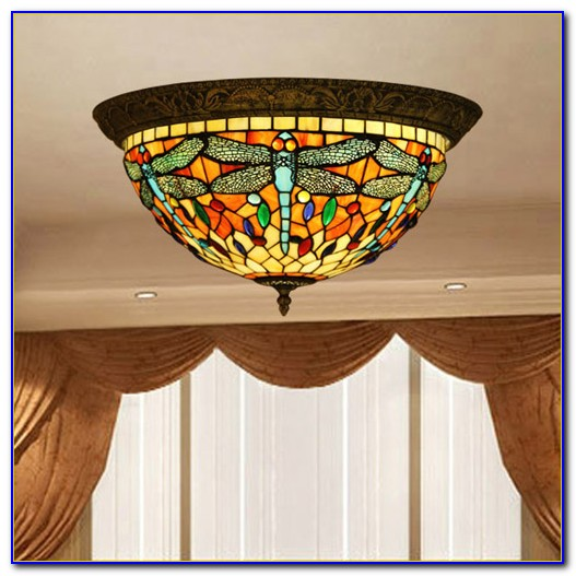 Flush Mount Stained Glass Ceiling Light