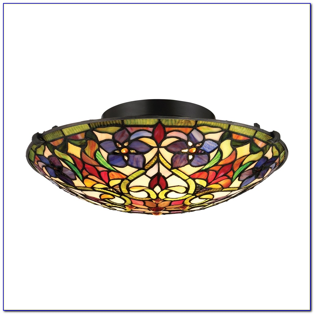Tiffany Style Semi Flush Mount Ceiling Light
