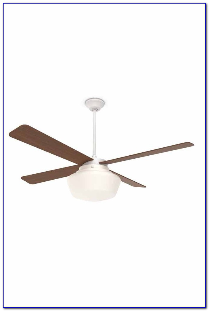 White Ceiling Fan With Schoolhouse Light