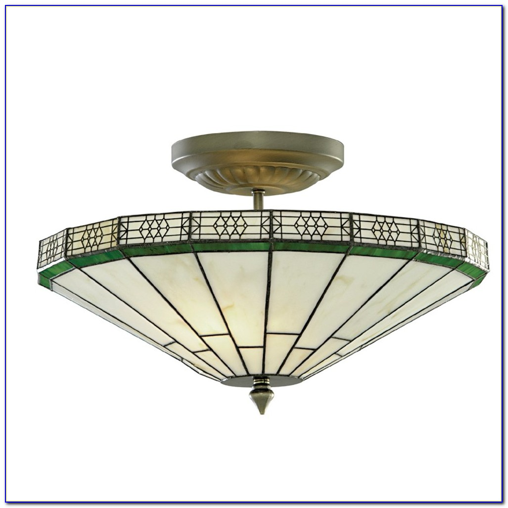 Mission Tiffany Semi Flush Ceiling Light