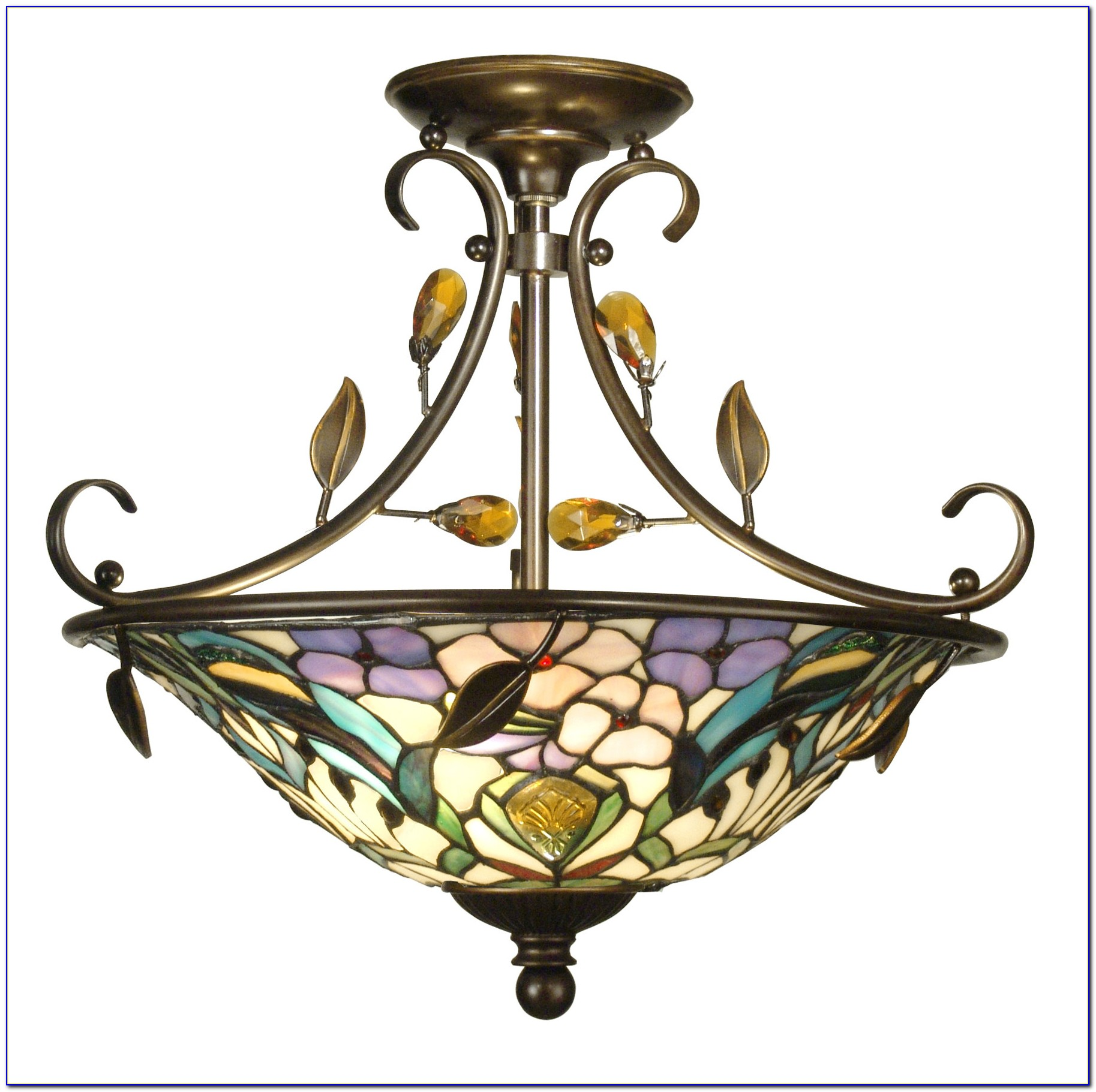 Tiffany Semi Flush Ceiling Light Silver