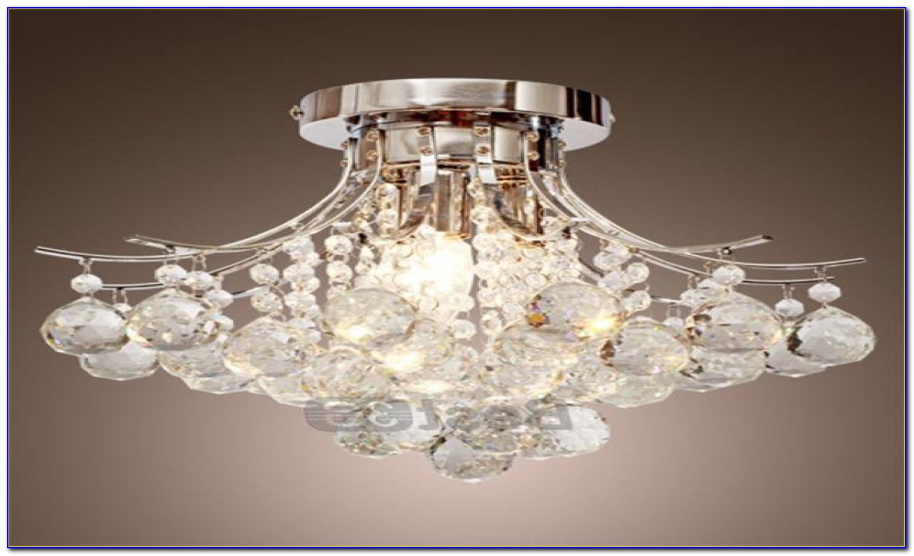 Small Flush Mount Crystal Chandelier