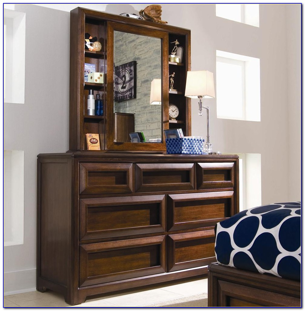 Antique Dresser With Mirror And Shelves