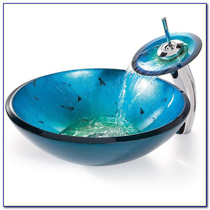 Blue Vessel Sink Waterfall Faucet