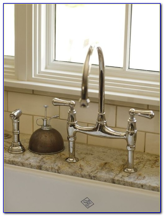Bridge Faucet With Sprayer And Soap Dispenser