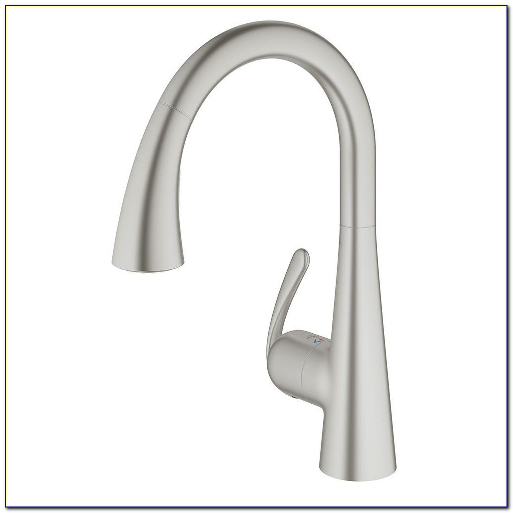 Brushed Nickel Single Handle Kitchen Faucet With Spray