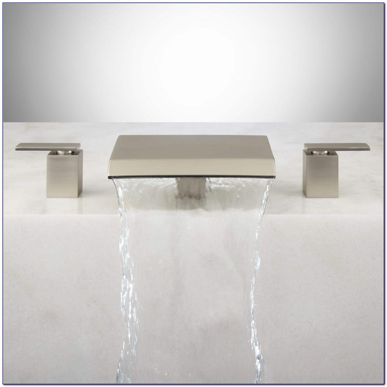 Brushed Nickel Waterfall Bathroom Faucet
