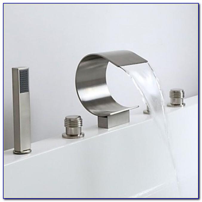 Brushed Nickel Waterfall Tub Faucet