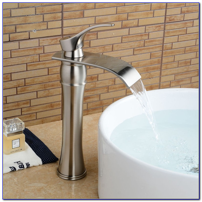 Brushed Nickel Waterfall Vessel Sink Faucets