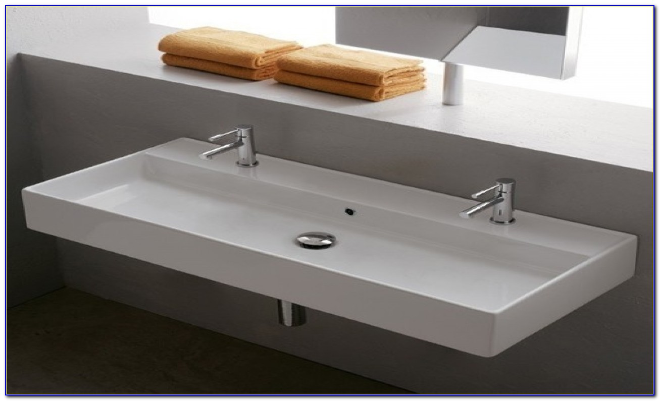 Double Faucet Trough Sink Bathroom