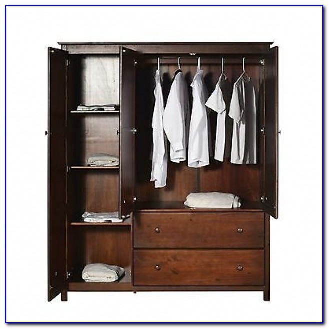 Solid Wood Wardrobe Closet Solid Wood Wardrobe Closet Armoire Clothes Hanging Shelf Storage Pic