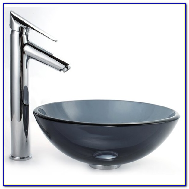 Glass Vessel Sink And Waterfall Faucet Combo