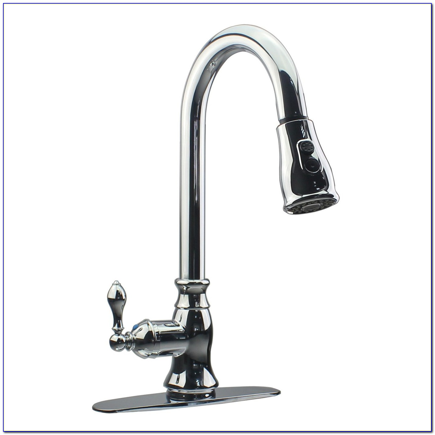 Single Handle Pullout Kitchen Faucet With Soap Dispenser